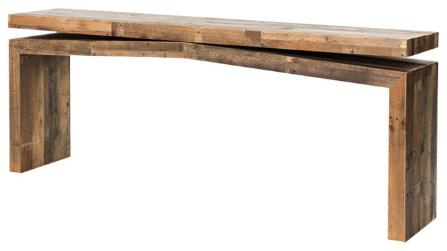 Ryland Rustic Lodge Weathered Wood Balance Console Table Rustic Console  Tables