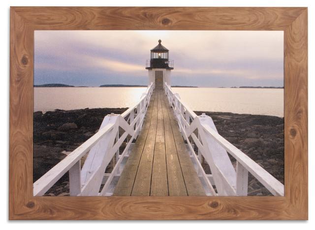 Marshall Point Lighthouse Photography Framed Canvas Art.