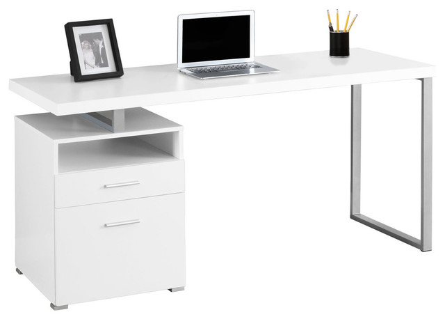 Nagano Contemporary Computer Desk With Storage, White.