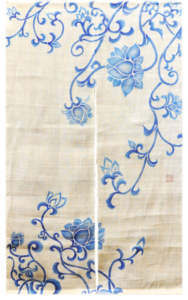 Blue Lotus Blossom White Noren Curtain