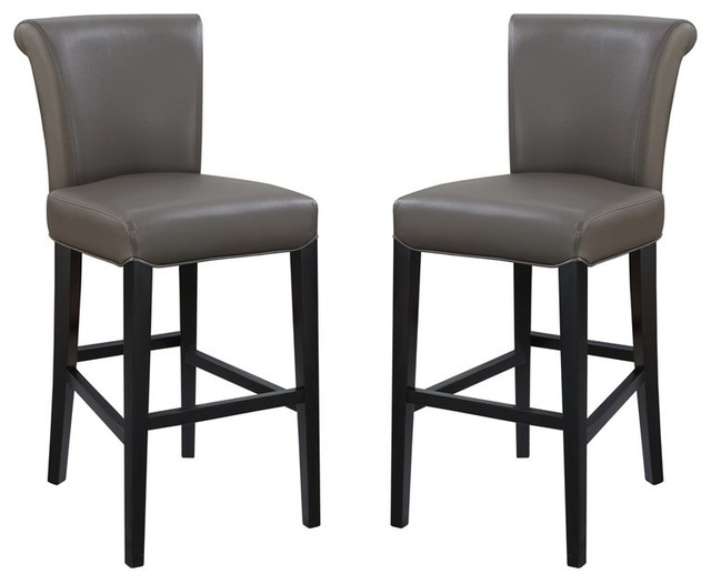 Pemberly Row Norwood III Gray 30'' Faux Leather Bar Stool (Set of 2)