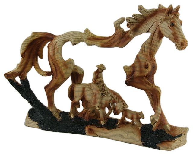 Horse And Cowboy Faux Wood Carving Statue Southwestern Decorative Objects And Figurines By