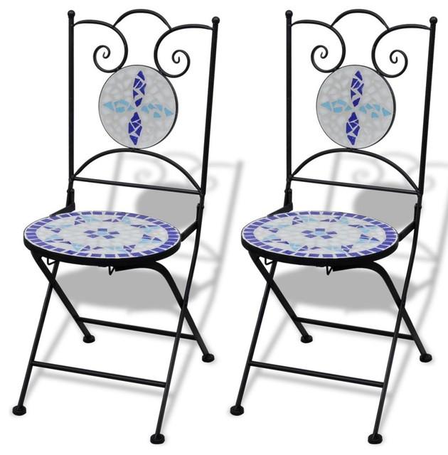 Wondrous Vidaxl 2X Bistro Chair Mosaic Blue White Outdoor Garden Patio Cafe Furniture Cjindustries Chair Design For Home Cjindustriesco