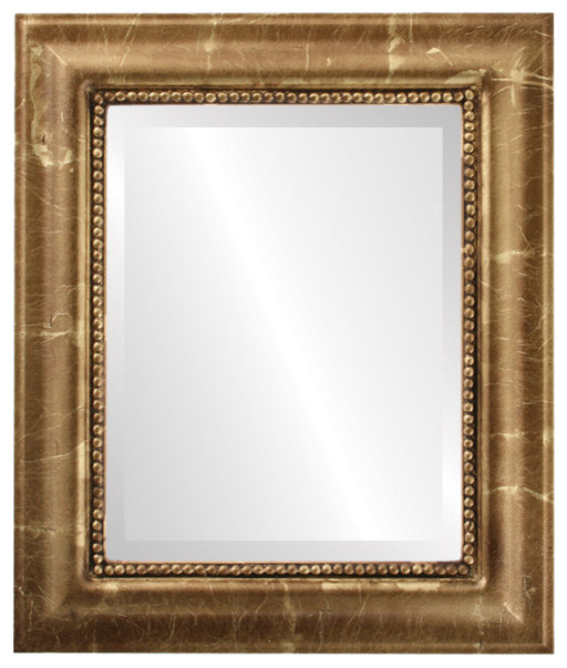 """Heritage Framed Rectangle Mirror In Champagne Gold, 23""""x29""""."""