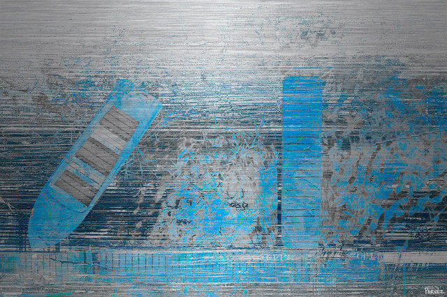 """""""faded Blue Pier"""" Painting Print On Brushed Aluminum, 45""""x30""""."""
