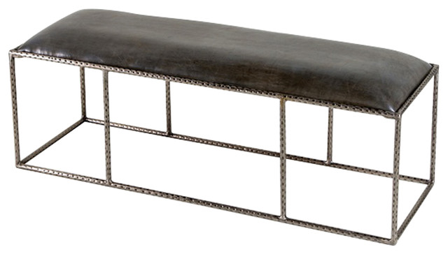 Interlude Home Ethan Leather Gray Bench. -1