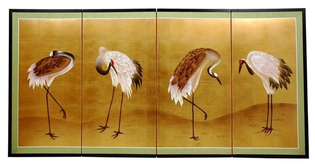 36 In. Tall Gold Leaf Cranes Hand-Painted Wall Art.