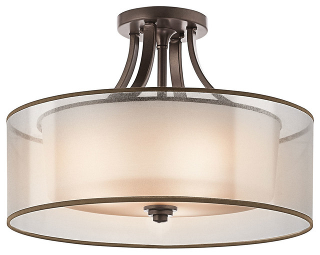 Lacey 4-Light Semi-Flush Mount, Mission Bronze/satin Etched Glass.