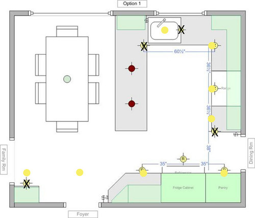 Spacing Of 4 Recessed Lighting For Kitchen : Recessed lighting layout for my kitchen