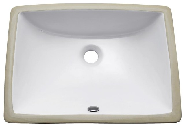 Undermount 20 rectangular vitreous china sink white contemporary bathroom sinks by for White rectangular undermount bathroom sink
