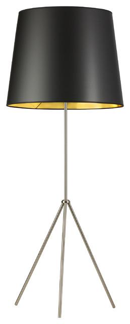 Oversized Drum 1-Light 3 Leg Floor Lamp Satin Chrome Black/Gold Fabric Shade