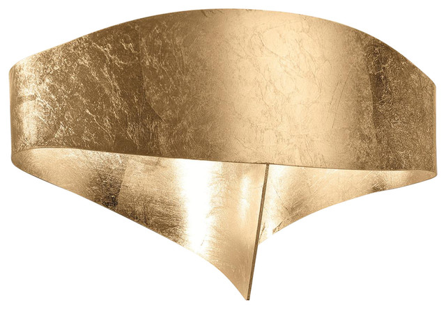 Scudo Metal Leaf LED Wall Light, Gold Leaf