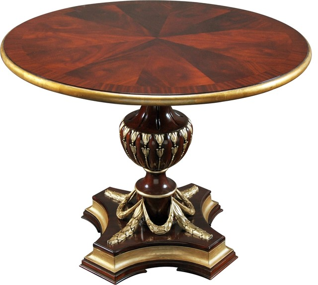Center Coffee Table Gold Leaf Accents Solid Traditional