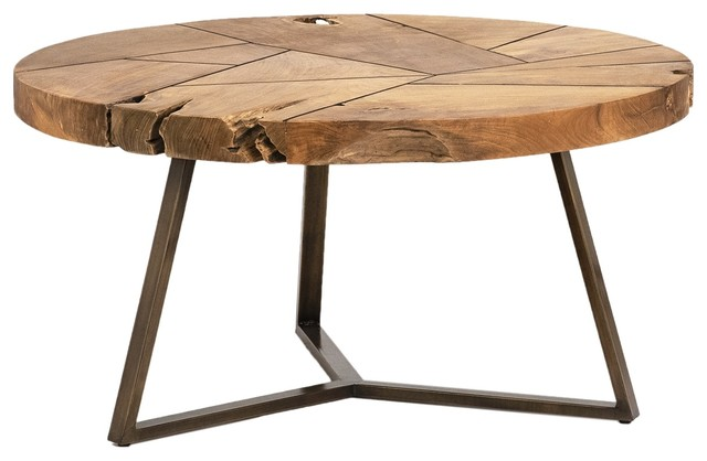 32 Camillo Coffee Table Reclaimed Teak Root Round Natural Antique Br Base