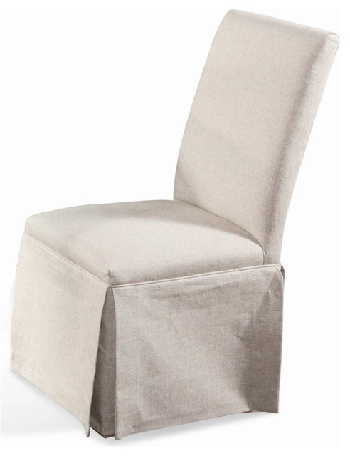 Edison Skirted Parsons Chairs, Set Of 2, Natural Linen Fabric
