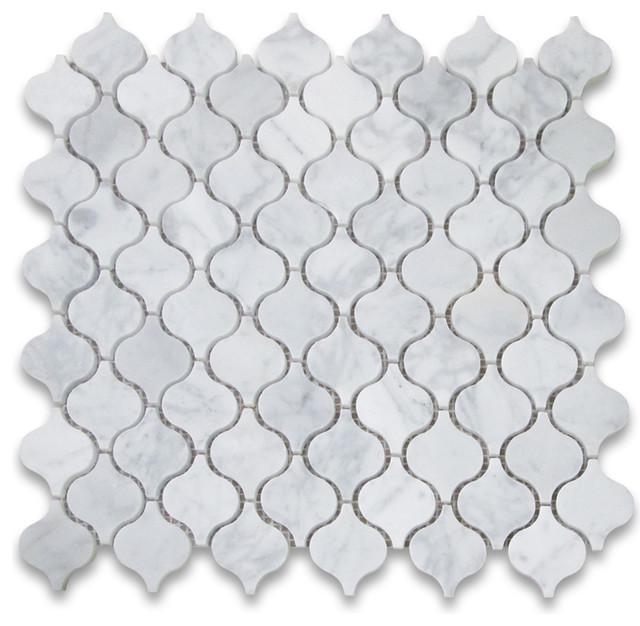 "12""x12"" Carrara White Mini Lantern Shaped Arabesque Baroque Mosaic Tile Polished."