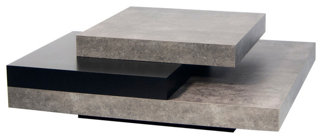 Beau Slate Coffee Table, Faux Concrete/Pure Black