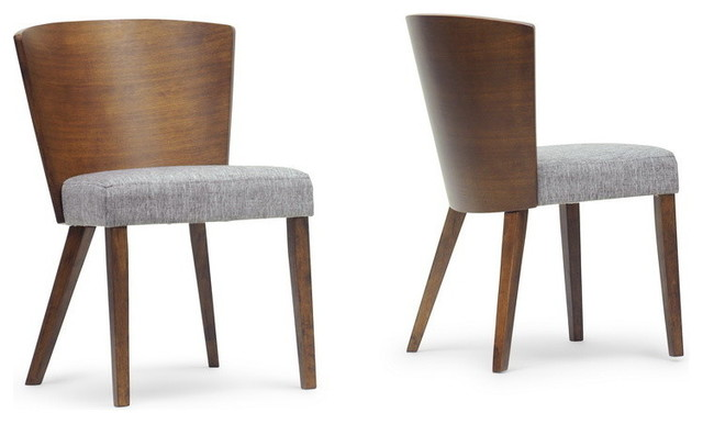 Baxton Studio Sparrow Wood Modern Dining Chairs, Set of 2, Brown ...