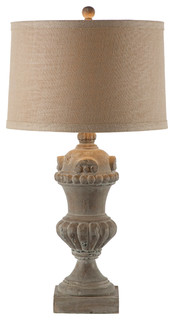 Brussels Large Carved Wood Urn French Country Table Lamp