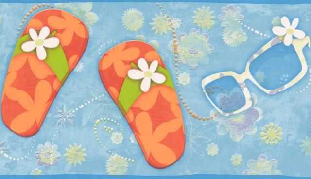 FLIP FLOPS SUNGLASSES BUTTERFLIES AND FLOWERS BEACH Wallpaper bordeR  wall decor