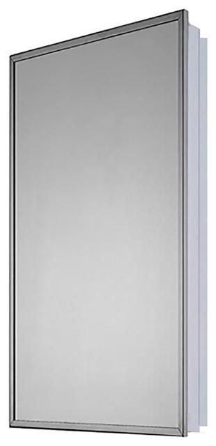 "Euroline Medicine Cabinet, 18""x36"", Bright Annealed Stainless Steel Frame, Parti"