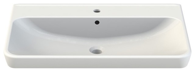 Rectangle White Ceramic Wall Mounted Or Self Rimming Sink, One Hole