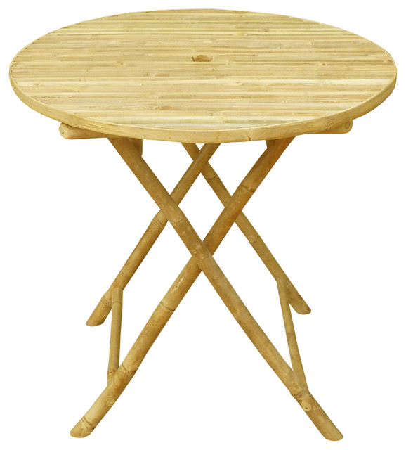 Bamboo Round Folding Bistro Table Tables By Zero Emission World