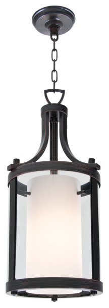 """Essex 1-Light 10"""" Pendant, Oil Rubbed Bronze With Half Opal Glass"""