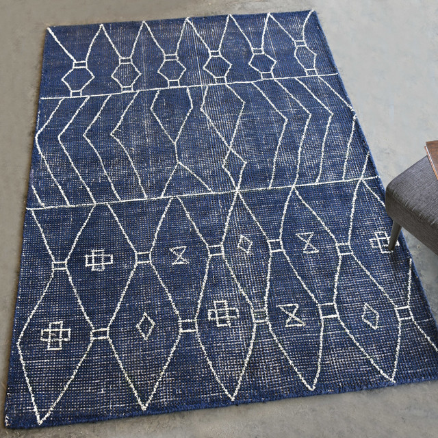 Geometric Tribal Indigo Blue Wool Area Rug 8x10 White Faded Midcentury Graphic