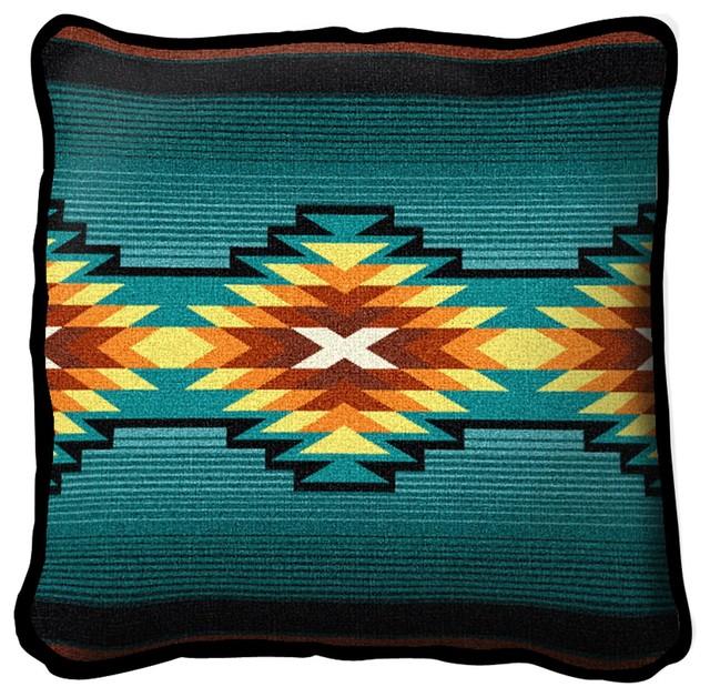 Southwest Geometric Turquoise Ii Pillow.