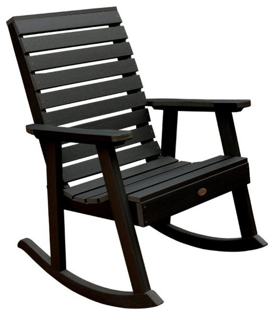Weatherly Rocking Chair, Eco Friendly Synthetic Wood Contemporary