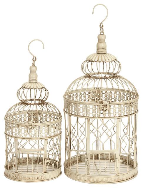 Set of 2 Round Hanging Metal Birdcages Beige Swirl Patio Accent Decor - Set Of 2 Round Hanging Metal Birdcages Beige Swirl Patio Accent