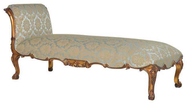 Doranna chaise longue in gold turquoise traditional for Chaise longue bleu turquoise