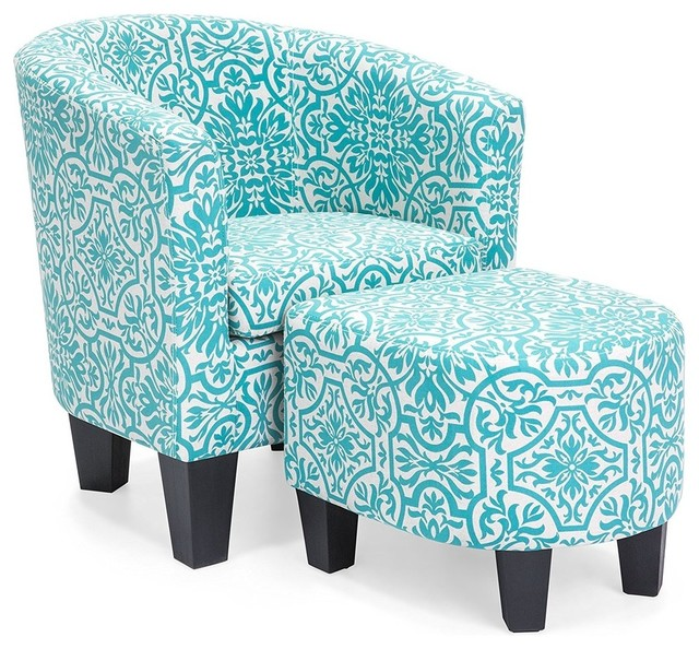 Strange Accent Chair With Ottoman French Print Details With Soft And Removable Cushion Inzonedesignstudio Interior Chair Design Inzonedesignstudiocom