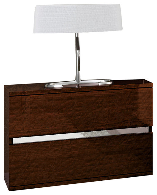 Dream walnut 2 drawer nightstand modern nightstands for Modern bedside tables nightstands
