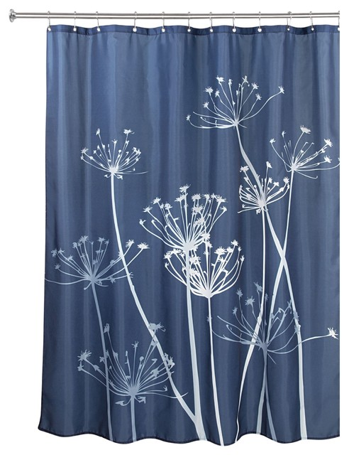 """iDesign Thistle Fabric Shower Curtain, 72""""x72"""", Navy and White"""