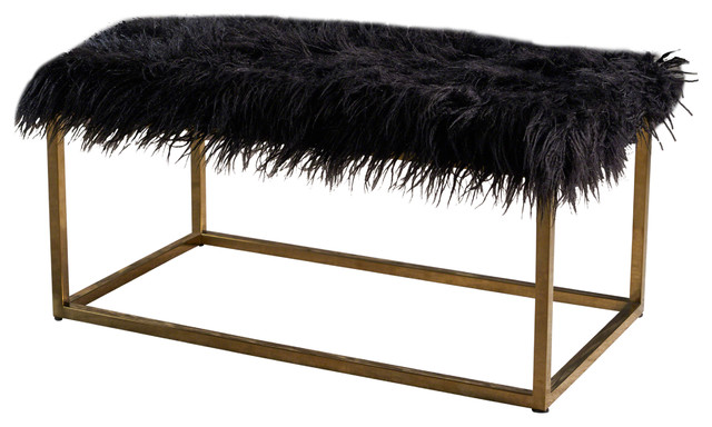 Glam Faux Furry Long Fur Ottoman With Gold Finish