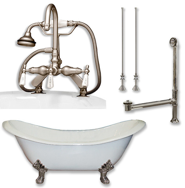 Cast Iron Double Slipper Tub 71 Telephone Faucet Brushed Nickel Package Victorian Bathtubs