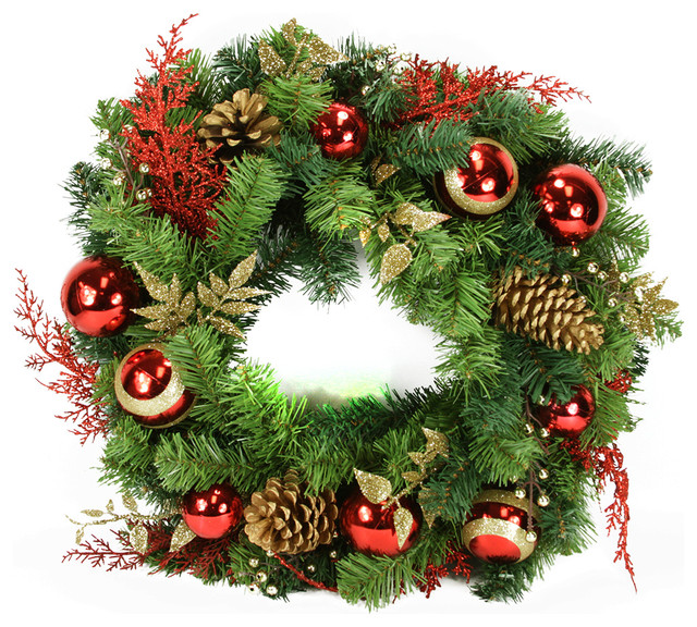24 Pre-Decorated Red And Gold Artificial Christmas Wreath, Unlit.