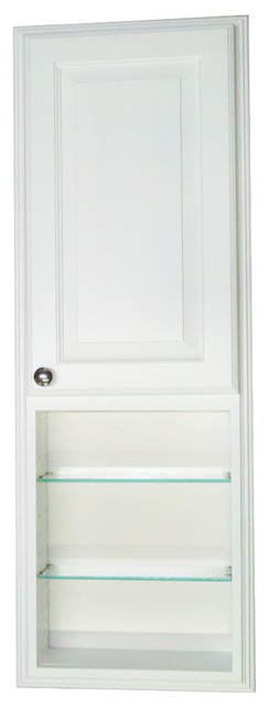"Recessed In The Wall Montery Med Stor Cab With 24"" Open Shelf, White Enamel, 42""."