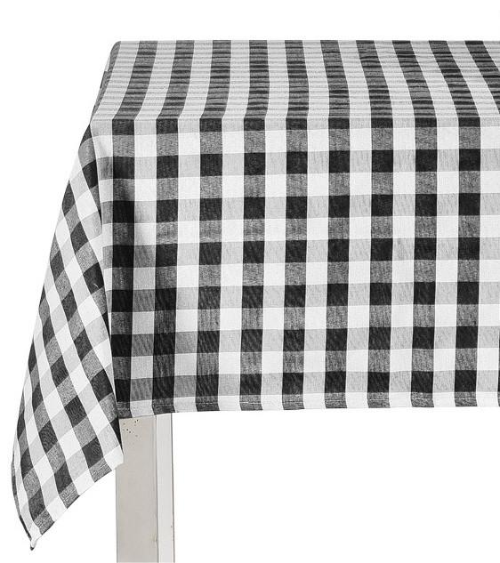 Kingston Black White Fabric Tablecloth, Gingham Square Check Design, ...
