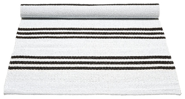 White and Choco Striped Recycled Plastic Rug, 75x200 cm