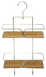 Wall Shower Caddy Basket 2 Bamboo Shelves With Pivoting Hanger Chrome