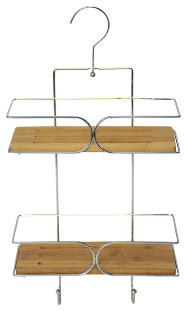 2-Shelf Shower Caddy With Hanger, Chrome and Bamboo