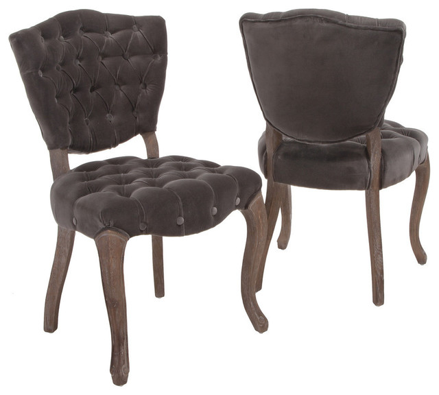 GDF Studio Violetta French Design Dining Chair, Set of 2, Charcoal