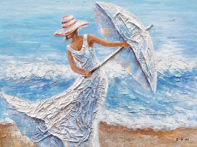 """beach Winds"" Hand Painted Canvas Art, 48""x36""."
