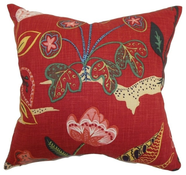 Unayzah Floral Pillow Poppy Red Contemporary Decorative Pillows Awesome Poppy Floral Decorative Pillows
