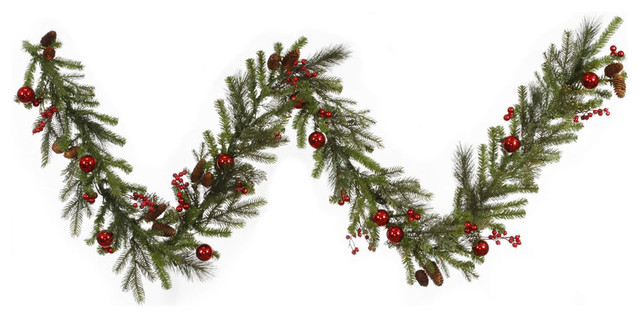 Artificial Christmas Garland.Red Berry And Ball Ornament Mixed Pine Artificial Christmas Garland 9 X12