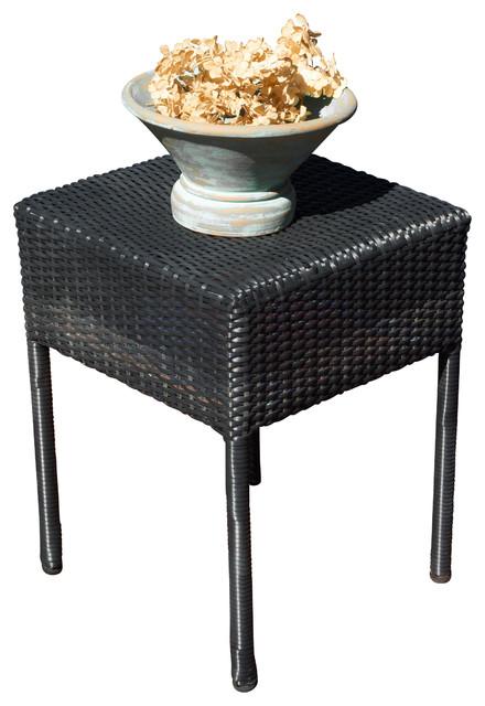 Edgar Outdoor Wicker Side Table Contemporary Outdoor