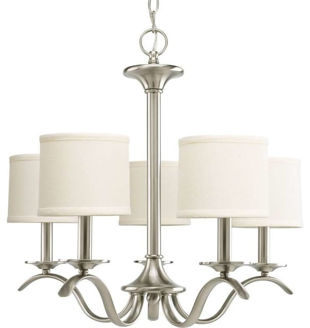 Progress Lighting P4635-09 Inspire 5 Light Chandelier In Brushed Nickel transitional-chandeliers  sc 1 st  Houzz : brushed nickel chandelier lighting - azcodes.com